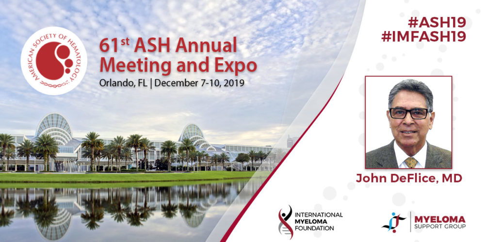 John Deflice, myeloma patient, with backdrop of ASH conference in Orlando 2019